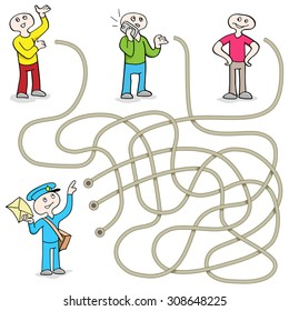 Funny Maze Game: Help the Postman Send Message! Vector Illustration with tangled lines. Doodles People