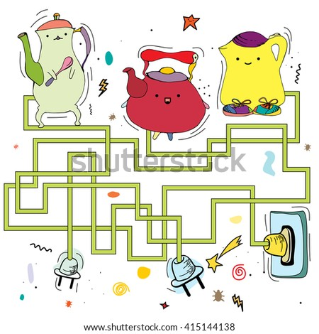 Funny Maze Game Kids Visual Game Stock Vector (Royalty Free