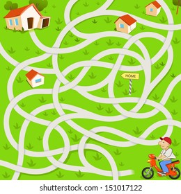 Funny Maze Game: the Funny Motorcyclist Find the Tangled Way to the House. Red Scooter in the Village
