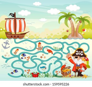 Funny maze game, Pirate try to find the treasure in the sea, illustrator Vector