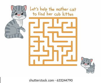 Funny maze for kids with cute cat. Game for kids. Vector illustration