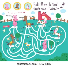 Funny maze puzzle for kids. Help them to find their own twin, kid learning game, illustration, vector.