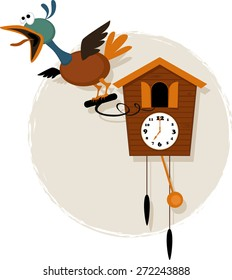 Funny mechanical bird emerging from a striking  antique cuckoo clock, vector cartoon, no transparencies, EPS 8