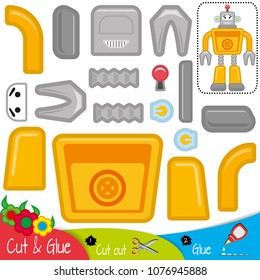Funny mechanical yellow smiling robot. Education paper game for preshool children. Vector illustration.