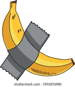 Funny Meme Banana with Cute Face Hand Drawn Vector Illustration