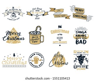 Funny Merry Christmas, Happy New Year graphic prints set, t shirt designs for xmas party, cricuts. Holiday decor with xmas tree, santa, mug, texts and ornaments. Fun typography. Stock vector