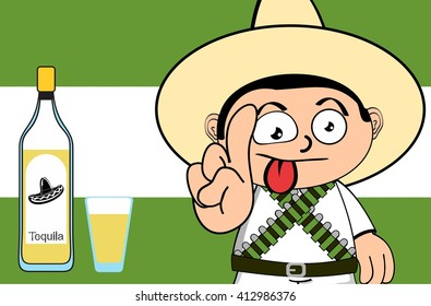funny mexican kid cartoon expression background in vector format