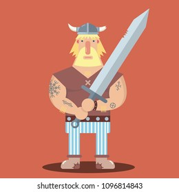 Funny mighty strong viking warrior fantasy character with big sword, beard and helmet with horns. Cartoon style flat vector illustration