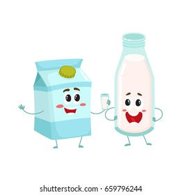 Funny milk characters, bottle and carton box, with smiling human faces, cartoon vector illustration isolated on white background. Cute dairy products