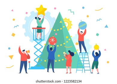 Funny mini business people people decorate the Christmas tree. New Year business concept. Flat design, vector illustration.