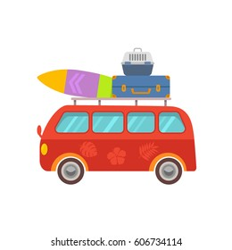 Funny  minibus travel with luggage in a cartoon style. Flat vector illustration isolated on white background