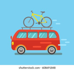 Funny minibus traveling with a bike in a cartoon style. Flat vector illustration on white background