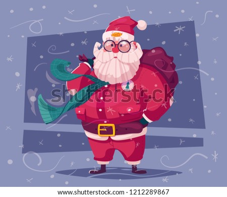 16966d5e85 Funny modern Santa Claus character. Cartoon vector illustration. Merry  Christmas and Happy New Year