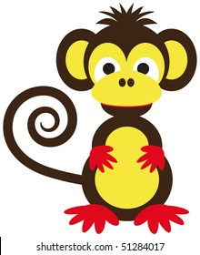funny monkey in brown and yellow with curly tail