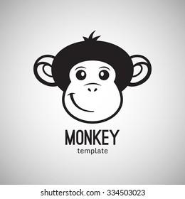 Funny monkey face, New Year 2016, vector illustration logo design