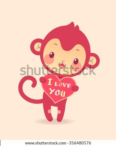Funny Monkey Heart I Love You Stock Vector Royalty Free 356480576