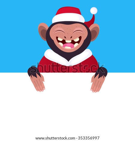 ccfcdffd43a87 Funny monkey holding a blank banner. Cartoon monkey in a Christmas hat  peeking from behind