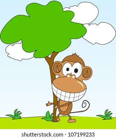 funny monkey hugging a tree in the background of the park