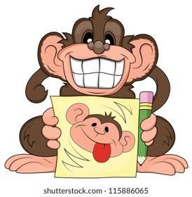 Funny Monkey Illustration
