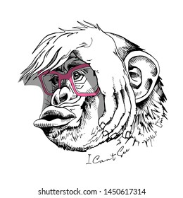 Funny Monkey in a pink glasses has its eyes covered by its hand. I can't see - lettering quote. Humor card, t-shirt composition, hand drawn style print. Vector illustration.