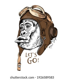 Funny monkey in a retro leather aviator helmet and with a glasses. Creative poster, t-shirt composition, hand drawn style print. Vector illustration.