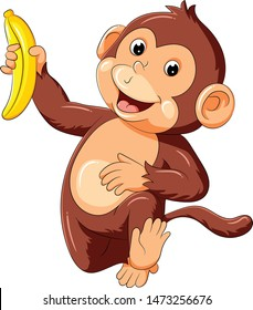funny monkey running and holding banana
