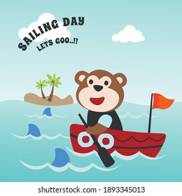 Funny monkey sailor cartoon vector on little boat with cartoon style. Creative vector childish background for fabric, textile, nursery wallpaper, poster, card, brochure. and other decoration.