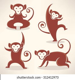 funny monkey silhouettes, vector collection of symbols of 2016