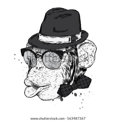 eda72578a7c Funny monkey in a stylish hat and sunglasses. Vector illustration for a  card or poster