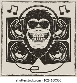 Funny monkey in sunglasses listening to music vector sketch grunge illustration. Cool music monkey with headphones vintage fashionable t-shirt printing design.