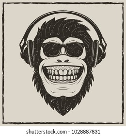 Funny monkey in sunglasses listening to music vector sketch grunge illustration. Vintage fashionable t-shirt printing design.