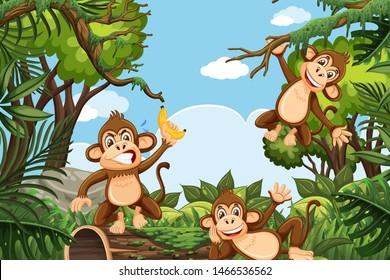 Funny monkeys in jungle scene illustration