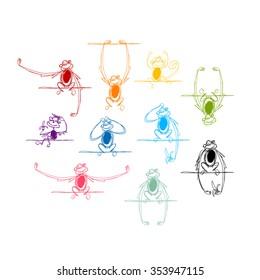 Funny monkeys, sketch for your design. Vector illustration