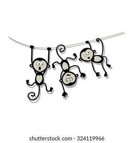 Funny monkeys for your design. Vector illustration