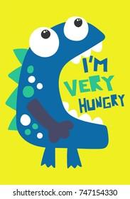 funny monster cartoon, illustration, vector