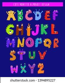 Funny monster letters alphabet vector design