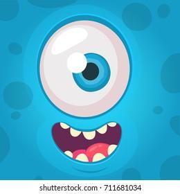 Funny Monster One eye Face. Vector Illustration. Halloween  cartoon monster