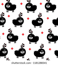 Funny monster with  red berries on the head seamless pattern. Vector endless background with fantastic animals in scandinavian style.