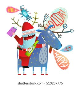 Funny Monster Santa Claus sitting on Deer Greeting with Christmas or New Year holidays. Reindeer and Santa monsters winter holidays happy crazy cartoon. Vector illustration.