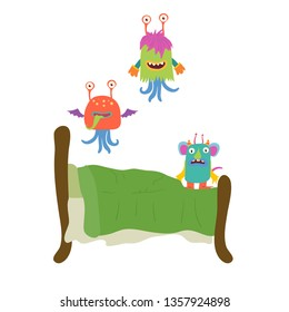 Funny monster from under the bed jump like crazy. Cartoon characters illustration on white background. Card, t-shirt or poster design