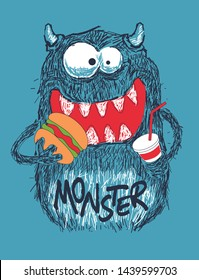 Funny monster vector design with hamburger
