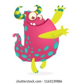 Funny monster waving hands. Halloween character