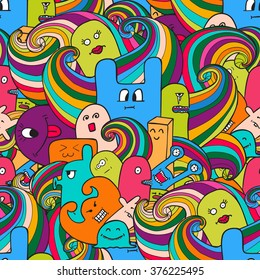 Funny monsters graffiti. Hand drawn sketch art. Doodle vector illustration. can be used for backgrounds, t-shirts.  seamless pattern