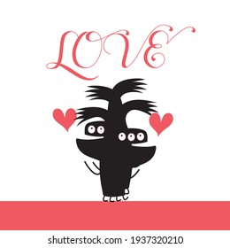 Funny monsters are in love with hearts on a white background. Valentine's Day with Monsters