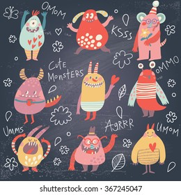 Funny monsters. Lovely monster set for children designs. Sweet smiling creatures in warm colors in vector. Awesome childish collection