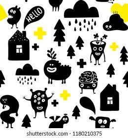 Funny monsters in the night.Creative simple pattern in scandinavian style. Hand drawn art in trend.