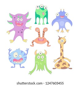 Funny monsters. Set of elements in cartoon style. Vector illustration