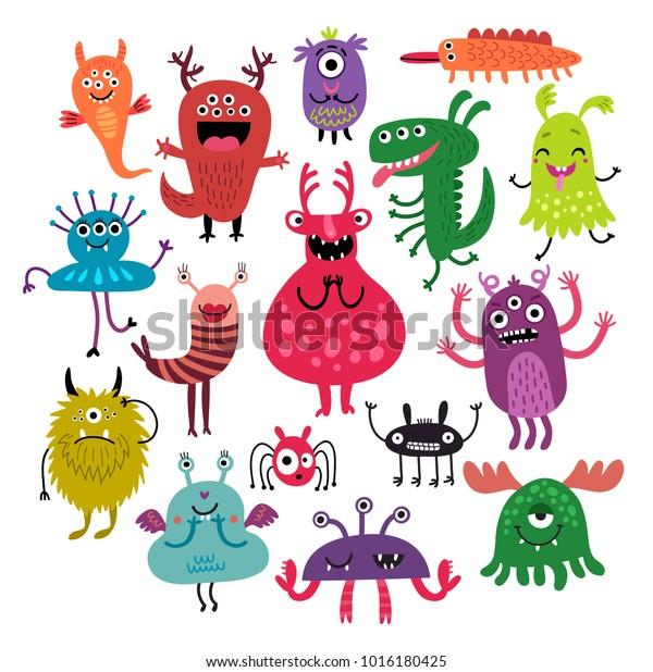 Funny monsters set. Vector illustration