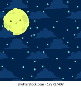 Funny moon with tiny stars seamless background pattern for kids and games. Vector illustration.