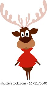 Funny moose, illustration, vector on white background.